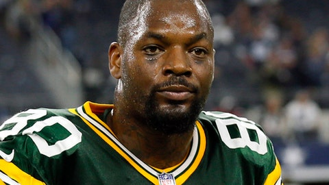 FILE - In this Oct. 8, 2017, file photo, Green Bay Packers tight end Martellus Bennett (80) walks off the field after an NFL football game against the Dallas Cowboys, in Arlington, Texas. The Packers have waived Martellus Bennett, bringing the tight end's short tenure at Lambeau Field to a surprising end. General manager Ted Thompson announced the move on Wednesday, Nov. 8, 2017, after practice. (AP Photo/Roger Steinman, File)