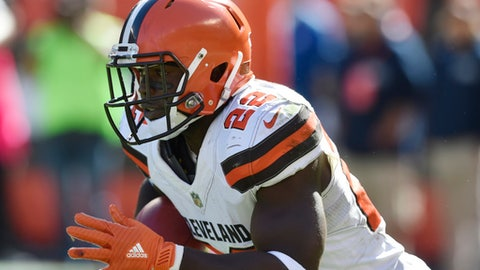 FILE - In this Oct. 1, 2017, file photo, Cleveland Browns' Jabrill Peppers returns a kickoff against the Cincinnati Bengals during an NFL football game in Cleveland. Peppers is back after missing two games with toe problems, and this weekend's game against the Detroit Lions is near where he spent his college days. Peppers was a star at Michigan. (AP Photo/David Richard, File)