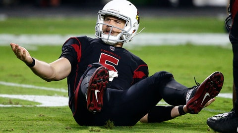 Arizona Cardinals quarterback Drew Stanton (5) look for a roughing call against the Seattle Seahawks during the second half of an NFL football game, Thursday, Nov. 9, 2017, in Glendale, Ariz. (AP Photo/Ross D. Franklin)