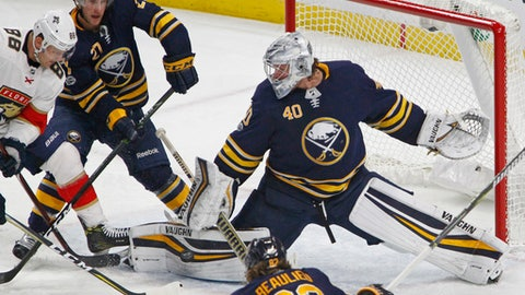 Buffalo Sabres goalie Robin Lehner (40) stops Florida Panthers Jamie McGinn (88) during the second period of an NHL hockey game, Friday Nov. 10, 2017, in Buffalo, N.Y. (AP Photo/Jeffrey T. Barnes)