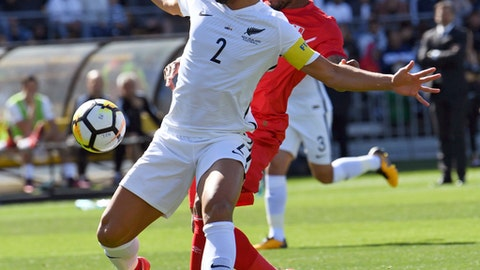 New Zealand's Winston Reid, left, holds back Peru's Jefferson Farfan during their Soccer World Cup qualifying match in Wellington, New Zealand, Saturday, Nov. 11, 2017.(Ross Setford/SNPA via AP)