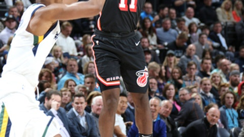 SALT LAKE CITY, UT - NOVEMBER 10: Dion Waiters #11 of the Miami Heat shoots the ball against the Utah Jazz on November 10, 2017 at Vivint Smart Home Arena in Salt Lake City, Utah. NOTE TO USER: User expressly acknowledges and agrees that, by downloading and or using this Photograph, User is consenting to the terms and conditions of the Getty Images License Agreement. Mandatory Copyright Notice: Copyright 2017 NBAE (Photo by Melissa Majchrzak/NBAE via Getty Images)