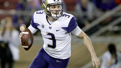 Washington quarterback Jake Browning (3) scrambles against Stanford during the first half of an NCAA college football game Friday, Nov. 10, 2017, in Stanford, Calif. (AP Photo/Marcio Jose Sanchez)