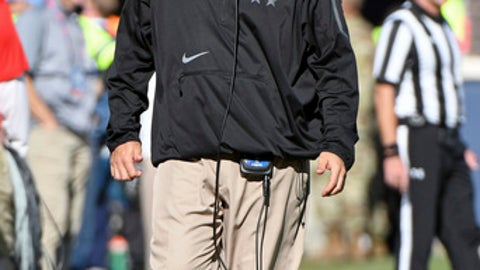 Mississippi interim head coach Matt Luke watches during the second half of an NCAA college football game against Louisiana-Lafayette in Oxford, Miss., Saturday, Nov. 11, 2017. Mississippi won 50-22. (AP Photo/Thomas Graning)
