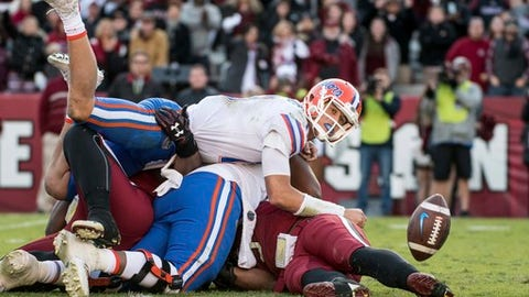 Florida quarterback Feleipe Franks (13) watches a batted pass attempt against South Carolina during the second half of an NCAA college football game Saturday, Nov. 11, 2017, in Columbia, S.C. South Carolina defeated Florida 28-20. (AP Photo/Sean Rayford)