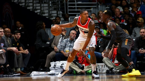 WASHINGTON, DC -  NOVEMBER 11:  Bradley Beal #3 of the Washington Wizards handles the ball against the Atlanta Hawks on November 11, 2017 at Capital One Arena in Washington, DC. NOTE TO USER: User expressly acknowledges and agrees that, by downloading and or using this Photograph, user is consenting to the terms and conditions of the Getty Images License Agreement. Mandatory Copyright Notice: Copyright 2017 NBAE (Photo by Ned Dishman/NBAE via Getty Images)