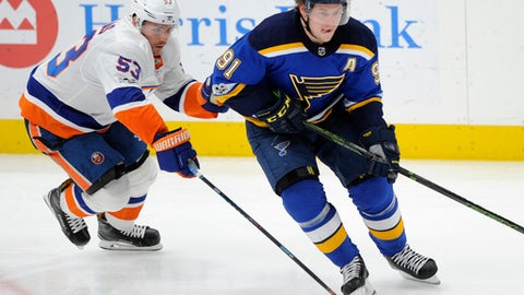 St. Louis Blues' Vladimir Tarasenko (91), of Russia, skates around New York Islanders' Casey Cizikas (53) during the third period of an NHL hockey game, Saturday, Nov. 11, 2017, in St. Louis. (AP Photo/Bill Boyce)