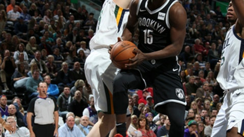 SALT LAKE CITY, UT - NOVEMBER 11: Isaiah Whitehead #15 of the Brooklyn Nets handles the ball against the Utah Jazz on November 11, 2017 at Vivint Smart Home Arena in Salt Lake City, Utah. NOTE TO USER: User expressly acknowledges and agrees that, by downloading and or using this Photograph, User is consenting to the terms and conditions of the Getty Images License Agreement. Mandatory Copyright Notice: Copyright 2017 NBAE (Photo by Melissa Majchrzak/NBAE via Getty Images)