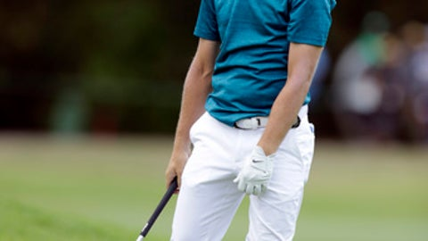 Tommy Fleetwood of England, reacts after playing a shot on the 11th fairway during the final round of 2017 Nedbank Golf Challenge at the Gary Player Country Club in Sun City, South Africa, Sunday, Nov. 12, 2017. (AP Photo/Themba Hadebe)