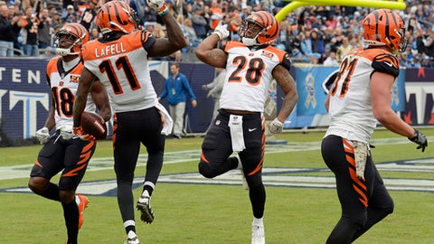Cincinnati Bengals wide receiver Brandon LaFell (11) celebrates with Joe Mixon (28) after LaFell caught a 37-yard touchdown pass against the Tennessee Titans in the first half of an NFL football game Sunday, Nov. 12, 2017, in Nashville, Tenn. (AP Photo/Mark Zaleski)