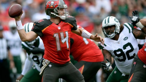Tampa Bay Buccaneers quarterback Ryan Fitzpatrick (14) throws a pass against the New York Jets during the first half of an NFL football game Sunday, Nov. 12, 2017, in Tampa, Fla. (AP Photo/Jason Behnken)