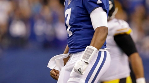 Indianapolis Colts quarterback Jacoby Brissett (7) celebrates a touchdown throw to wide receiver Donte Moncrief (10) against the Pittsburgh Steelers during the first half of an NFL football game in Indianapolis, Sunday, Nov. 12, 2017. (AP Photo/Darron Cummings)