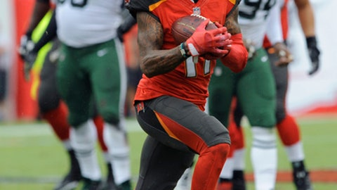 Tampa Bay Buccaneers wide receiver DeSean Jackson (11) runs with a reception against the New York Jets during the first half of an NFL football game Sunday, Nov. 12, 2017, in Tampa, Fla. (AP Photo/Steve Nesius)