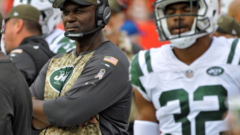 New York Jets head coach Todd Bowles during the second half of an NFL football game against the Tampa Bay Buccaneers Sunday, Nov. 12, 2017, in Tampa, Fla. (AP Photo/Steve Nesius)