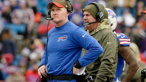 Buffalo Bills head coach Sean McDermott watches his team play during the second half of an NFL football game against the New Orleans Saints Sunday, Nov. 12, 2017, in Orchard Park, N.Y. (AP Photo/Adrian Kraus)