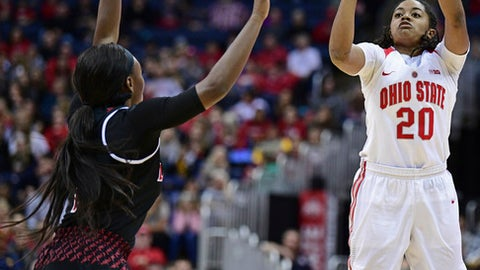 Ohio State's Asia Doss shoots over Louisville's Dana Evans during the second quarter of an NCAA college basketball game, Sunday, Nov. 12, 2017, in Columbus, Ohio. (AP Photo/David Dermer)