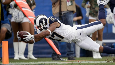 Los Angeles Rams wide receiver Robert Woods scores against the Houston Texans during the second half of an NFL football game Sunday, Nov. 12, 2017, in Los Angeles. (AP Photo/Jae C. Hong)
