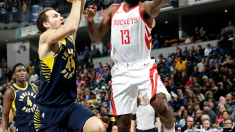 INDIANAPOLIS, IN - NOVEMBER 12:  James Harden #13 of the Houston Rockets goes to the basket against the Indiana Pacers on November 12, 2017 at Bankers Life Fieldhouse in Indianapolis, Indiana. NOTE TO USER: User expressly acknowledges and agrees that, by downloading and or using this Photograph, user is consenting to the terms and conditions of the Getty Images License Agreement. Mandatory Copyright Notice: Copyright 2017 NBAE (Photo by NBA Photos/NBAE via Getty Images)