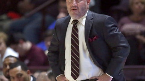 Virginia Tech head coach Buzz Williams looks on from the bench in the first half of an NCAA college basketball game in Blacksburg ,Va., Sunday, Nov. 12 2017. (Matt Gentry/The Roanoke Times via AP)