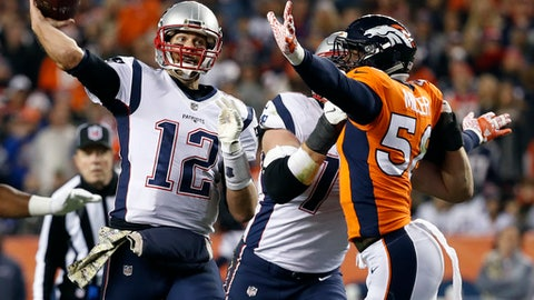 New England Patriots quarterback Tom Brady (12) throws as Denver Broncos outside linebacker Von Miller (58) defends during the first half of an NFL football game, Sunday, Nov. 12, 2017, in Denver. (AP Photo/Jack Dempsey)