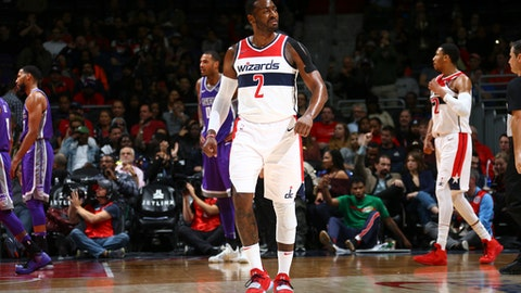 WASHINGTON, DC -  NOVEMBER 13: John Wall #2 of the Washington Wizards reacts against the Sacramento Kings on November 13, 2017 at Capital One Arena in Washington, DC. NOTE TO USER: User expressly acknowledges and agrees that, by downloading and or using this Photograph, user is consenting to the terms and conditions of the Getty Images License Agreement. Mandatory Copyright Notice: Copyright 2017 NBAE (Photo by Ned Dishman/NBAE via Getty Images)
