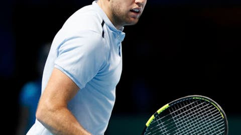 American player Jack Sock celebrates taking the second set against Croatian Marin Cilic, during day three of the ATP World Tour Finals being played at the O2 Arena in London, Tuesday Nov. 14, 2017. ( John Walton/PA via AP)