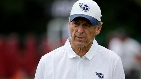 FILE - In this June 15, 2017, file photo, Tennessee Titans defensive coordinator Dick LeBeau leaves the field following NFL football minicamp in Nashville, Tenn. LeBeau is heading back to Pittsburgh for the first time since he left the Steelers. (AP Photo/Mark Humphrey, File)