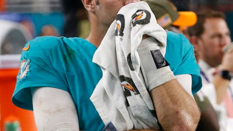 FILE - In this Nov. 5, 2017, file photo, Miami Dolphins quarterback Jay Cutler (6) looks up from the sidelines during the last moments of the second half of an NFL football game against the Oakland Raiders, in Miami Gardens, Fla. With three consecutive losses, all in prime time, the Miami Dolphins try to regroup and save their season. (AP Photo/Wilfredo Lee, File)