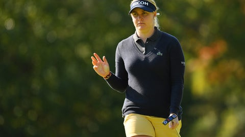 OMITAMA, JAPAN - NOVEMBER 05:  Charley Hull of England reacts during the final round of the TOTO Japan Classics 2017 at the Taiheiyo Club Minori Course on November 5, 2017 in Omitama, Ibaraki, Japan.  (Photo by Atsushi Tomura/Getty Images)