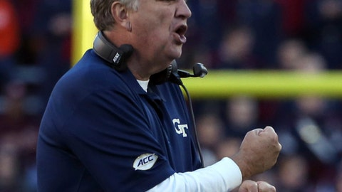 FILE - In this Nov. 12, 2016, file photo, Georgia Tech head coach Paul Johnson encourages his team during the first half of an NCAA football game against Virginia Tech, in Blacksburg, Va. Georgia Tech, a perfect 5-0 at home, is 0-4 away from Bobby Dodd Stadium. The Yellow Jackets have another chance for their first road win, and to become bowl eligible, when they visit Duke on Saturday. (Matt Gentry/The Roanoke Times via AP, File)
