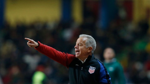 U.S. interim coach Dave Sarachan gestures during an international friendly soccer match between Portugal and U.S. at the Dr. Magalhaes Pessoa stadium in Leiria, Portugal, Tuesday Nov. 14, 2017. (AP Photo/Pedro Rocha)