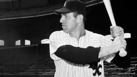 "FILE - In this May 6, 1953, file photo, Manuel ""Jungle Jim"" Rivera, of the Chicago White Sox 1953, poses in a batting stance. Rivera, an outfielder on the 1959 ""Go-Go"" White Sox pennant-winning team, has died Monday night in Fort Wayne, Ind. the team said Tuesday, Nov. 14, 2017. He was 96. (AP Photo/File)"