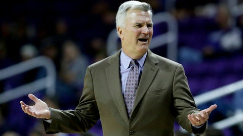 Kansas State head coach Bruce Weber reacts to a call during the second half of an NCAA college basketball game against UKMC, Tuesday, Nov. 14, 2017, in Manhattan, Kan. Kansas State won 72-51. (AP Photo/Charlie Riedel)