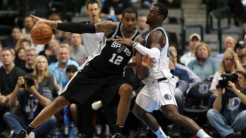 DALLAS, TX - NOVEMBER 14:  LaMarcus Aldridge #12 of the San Antonio Spurs dribbles the ball against Harrison Barnes #40 of the Dallas Mavericks in the second half at American Airlines Center on November 14, 2017 in Dallas, Texas.  NOTE TO USER: User expressly acknowledges and agrees that, by downloading and or using this photograph, User is consenting to the terms and conditions of the Getty Images License Agreement.  (Photo by Ronald Martinez/Getty Images)