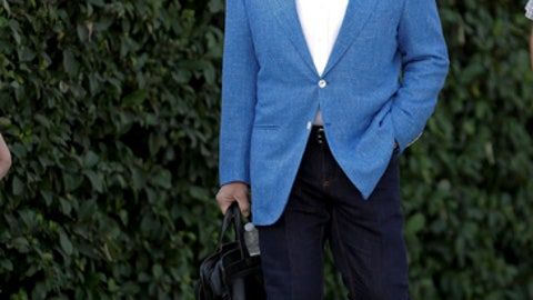 Sports agent Scott Boras arrives at news conference at the annual MLB baseball general managers' meetings, Wednesday, Nov. 15, 2017, in Orlando, Fla. (AP Photo/John Raoux)
