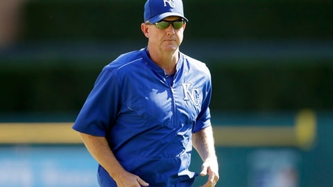 FILE - In this Sept. 24, 2016, file photo, Kansas City Royals pitching coach Dave Eiland walks back to the dugout during the third inning of a baseball game against the Detroit Tigers in Detroit. The New York Mets announced Wednesday, Nov. 15, 2017, that they have filled out their coaching staff, adding Gary DiSarcina, Dave Eiland and Ruben Amaro Jr. to the team. Eiland was hired as the pitching coach for new manager Mickey Callaway. (AP Photo/Carlos Osorio, File)