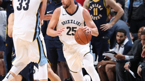 MEMPHIS, TN - NOVEMBER 15:  Chandler Parsons #25 of the Memphis Grizzlies handles the ball against the Indiana Pacers on November 15, 2017 at FedExForum in Memphis, Tennessee. NOTE TO USER: User expressly acknowledges and agrees that, by downloading and or using this photograph, user is consenting to the terms and conditions of the Getty Images License Agreement. Mandatory Copyright Notice: Copyright 2017 NBAE (Photo by Joe Murphy/NBAE via Getty Images)