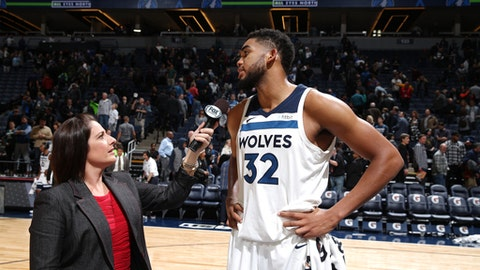 MINNEAPOLIS, MN -  NOVEMBER 15: Karl-Anthony Towns #32 of the Minnesota Timberwolves is interviewed after defeating the San Antonio Spurs on November 15, 2017 at Target Center in Minneapolis, Minnesota. NOTE TO USER: User expressly acknowledges and agrees that, by downloading and or using this Photograph, user is consenting to the terms and conditions of the Getty Images License Agreement. Mandatory Copyright Notice: Copyright 2017 NBAE (Photo by David Sherman/NBAE via Getty Images)