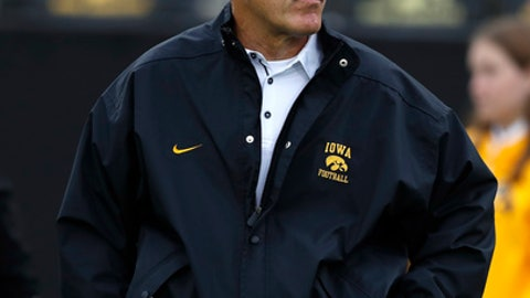 FILE - In this Oct. 7, 2017, file photo, Iowa head coach Kirk Ferentz stands on the field before an NCAA college football game against Illinois in Iowa City, Iowa. Purdue plays at Iowa on Saturday. (AP Photo/Charlie Neibergall, File)
