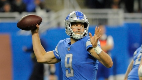 FILE - In this Nov. 12, 2017, file photo, Detroit Lions quarterback Matthew Stafford throws during the second half of an NFL football game against the Cleveland Browns in Detroit. The Lions visit Chicago on Sunday. Detroit is 3-5 at Chicago during Stafford's career. (AP Photo/Jose Juarez, File)