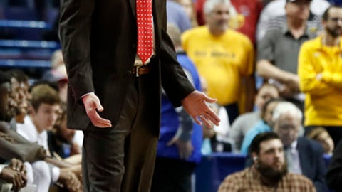 Illinois State head coach Dan Muller is seen on the sidelines during the first half of an NCAA college basketball game against Wichita State in the championship of the Missouri Valley Conference men's tournament Sunday, March 5, 2017, in St. Louis. (AP Photo/Jeff Roberson)