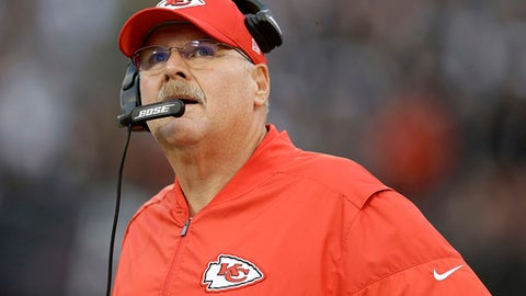 """FILE - In this Thursday, Oct. 19, 2017, file photo, Kansas City Chiefs head coach Andy Reid watches during the first half of an NFL football game against the Oakland Raiders in Oakland, Calif. Reid has reminded his team to focus on what it has to do. """"We got a lot of room to improve,"""" he said. """"We're not good enough right now, so we got to keep working so that's where it always starts. That's the one great thing about football, you always have something you can get better at."""" (AP Photo/Ben Margot, File)"""