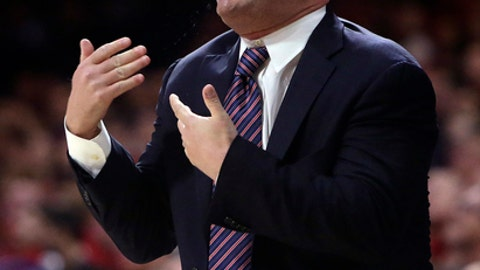 Arizona head coach Sean Miller yells out a play against Cal State Bakersfield in the first half during an NCAA college basketball game, Thursday, Nov. 16, 2017, in Tucson, Ariz. (AP Photo/Rick Scuteri)
