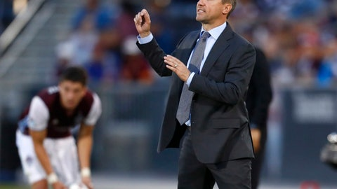 FILE - In this June 17, 2017, file photo, Portland Timbers coach Caleb Porter gestures during the first half of the team's MLS soccer match against the Colorado Rapids in Commerce City, Colo. A person familiar with the decision confirms that Porter has parted ways with the Timbers. The person spoke to The Associated Press on condition of anonymity because an official announcement had not been made by the team. (AP Photo/David Zalubowski, File)