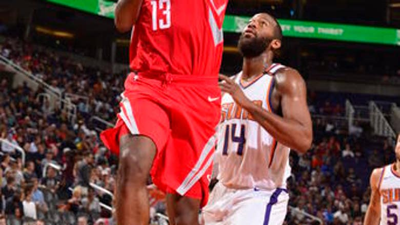 Harden, Rockets score 90 in 1st half and rout Suns 142-116