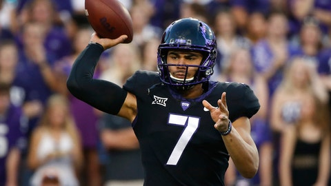 FILE - In this Nov. 4, 2017 file photo, TCU quarterback Kenny Hill (7) throws against Texas during the first half of an NCAA college football in Fort Worth, Texas. TCU will be without senior quarterback Kenny Hill and safety Niko Small because of unspecified injuries, when they face Texas Tech. (AP Photo/Ron Jenkins)