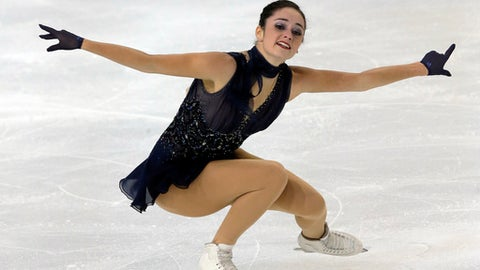 Kaetlyn Osmond of Canada competes her ladies short program during the ISU French Grand Prix figure skating event at Pole Sud Indoor skating rink in Grenoble, southeastern France, Friday, Nov. 17, 2017. (AP Photo/Michel Euler)