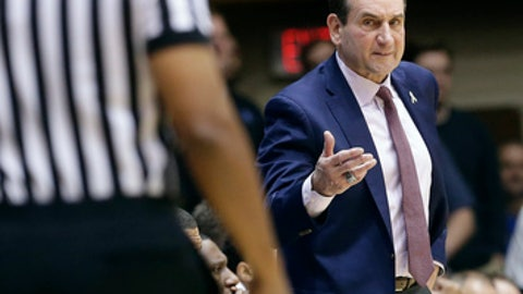Duke coach Mike Krzyzewski speaks with an official during the second half of an NCAA college basketball game against Southern in Durham, N.C., Friday, Nov. 17, 2017. (AP Photo/Gerry Broome)
