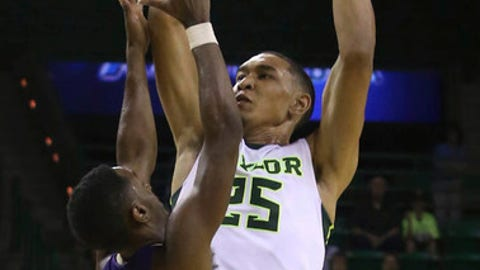 Baylor forward Tristan Clark (25) shoots over Alcorn State guard A.J. Mosby (2) in the second half of an NCAA college basketball game, Friday, Nov. 17, 2017, in Waco, Texas. (Jerry Larson/Waco Tribune Herald, via AP)