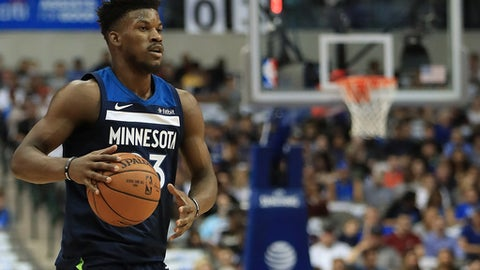 DALLAS, TX - NOVEMBER 17:  Jimmy Butler #23 of the Minnesota Timberwolves at American Airlines Center on November 17, 2017 in Dallas, Texas.  NOTE TO USER: User expressly acknowledges and agrees that, by downloading and or using this photograph, User is consenting to the terms and conditions of the Getty Images License Agreement.  (Photo by Ronald Martinez/Getty Images)